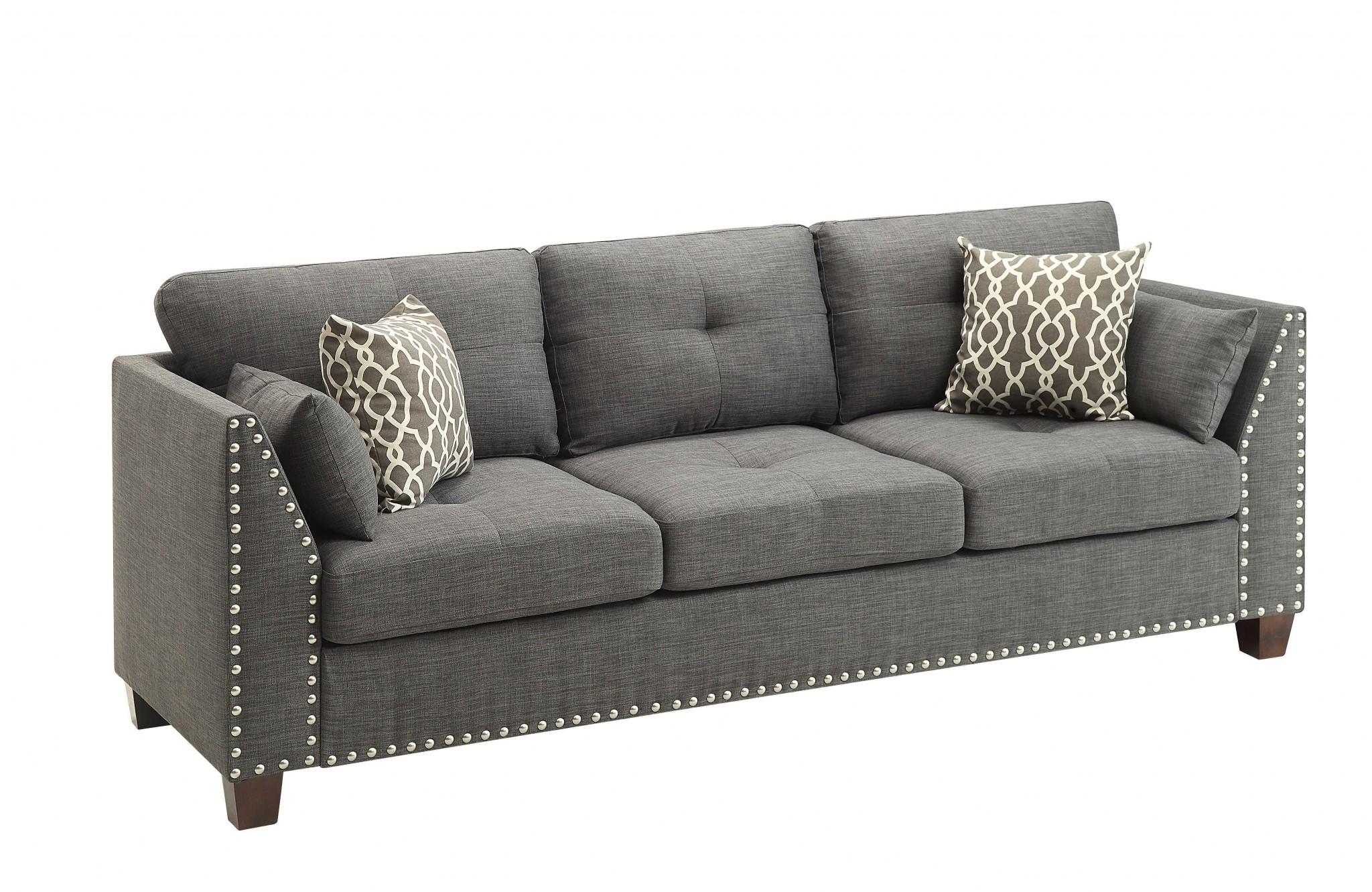 """81"""" X 31"""" X 35"""" Light Charcoal Linen Sofa w/4 Pillows"""