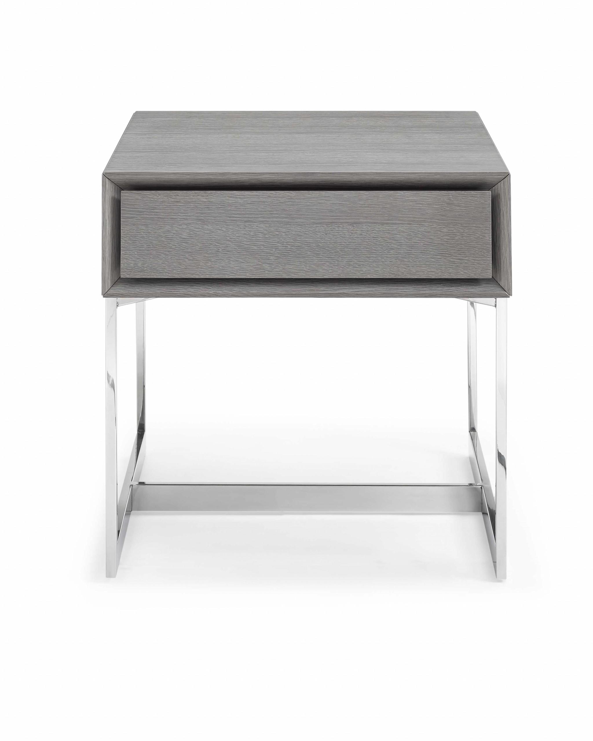 Side Table Gray Oak Veneer One Drawer Polished Stainless Steel Legs