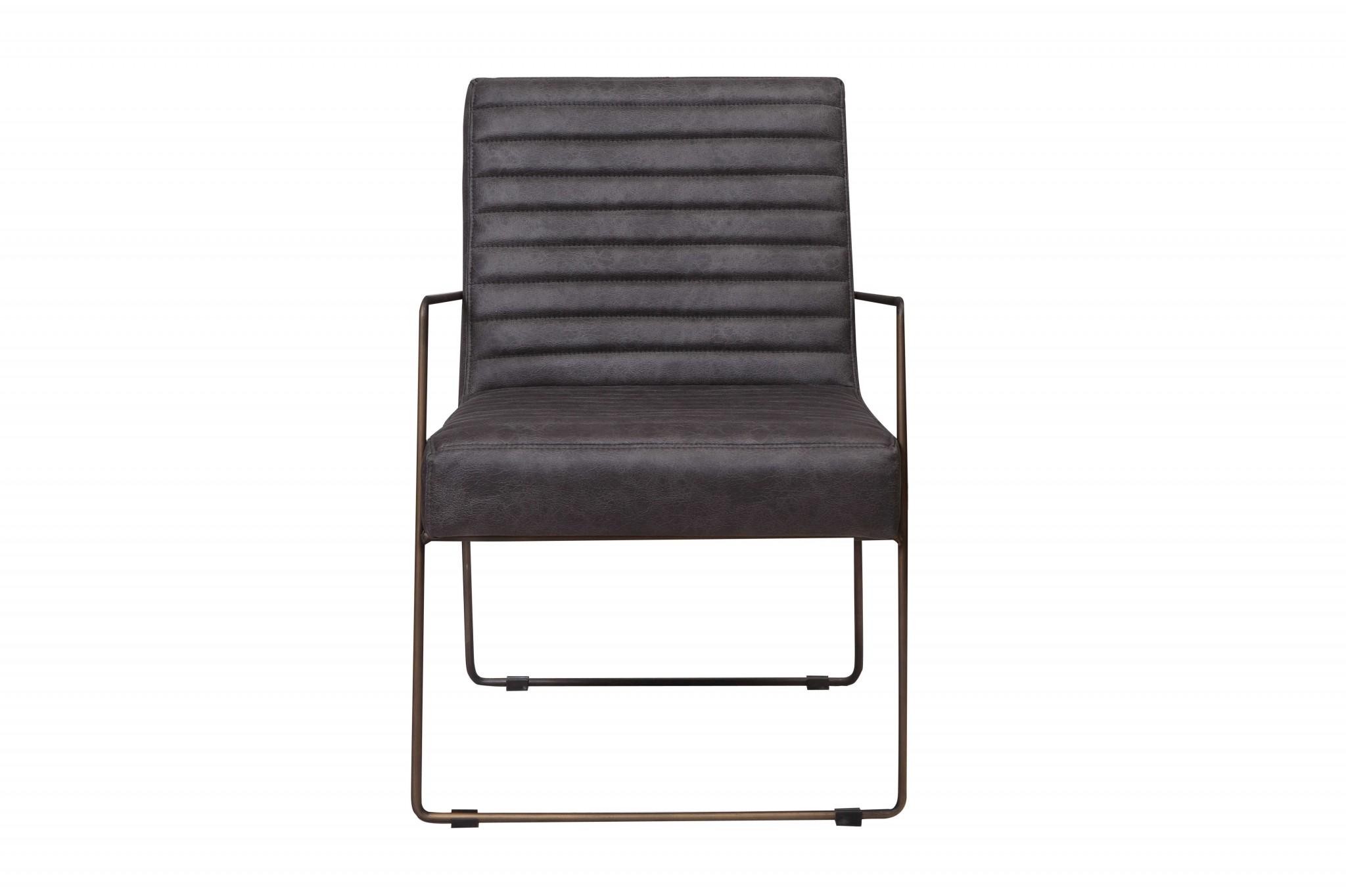 """30"""" X 22"""" X 32"""" Grey Foam Metal Fabric Plywood Arm Chair"""
