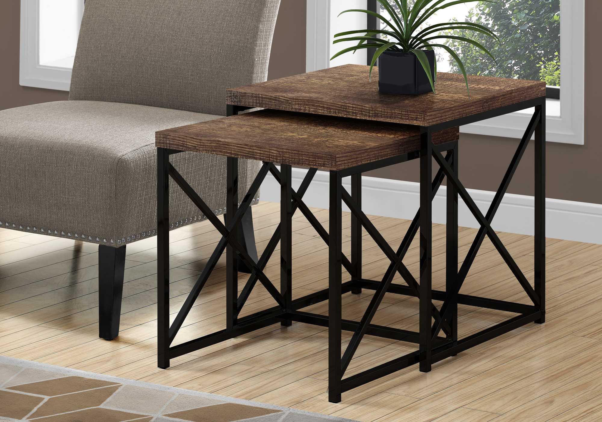 "37.25"" x 37.25"" x 40.5"" Brown Black Particle Board Metal  2pcs Nesting Table Set"