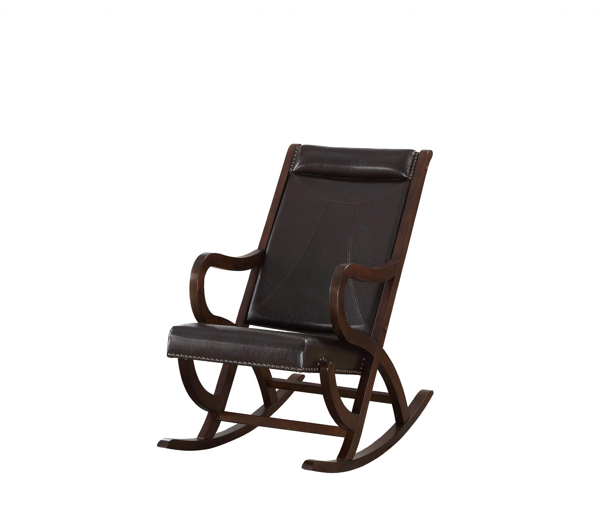 """22"""" X 36"""" X 38"""" Espresso PU Walnut Wood Upholstered (Seat) Rocking Chair"""