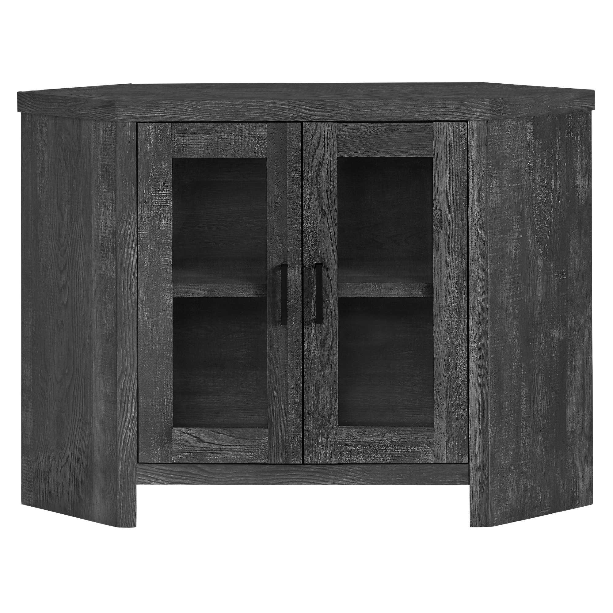 "42"" X 15.5"" X 30"" Black Reclaimed Wood-Look Corner Tv Stand"