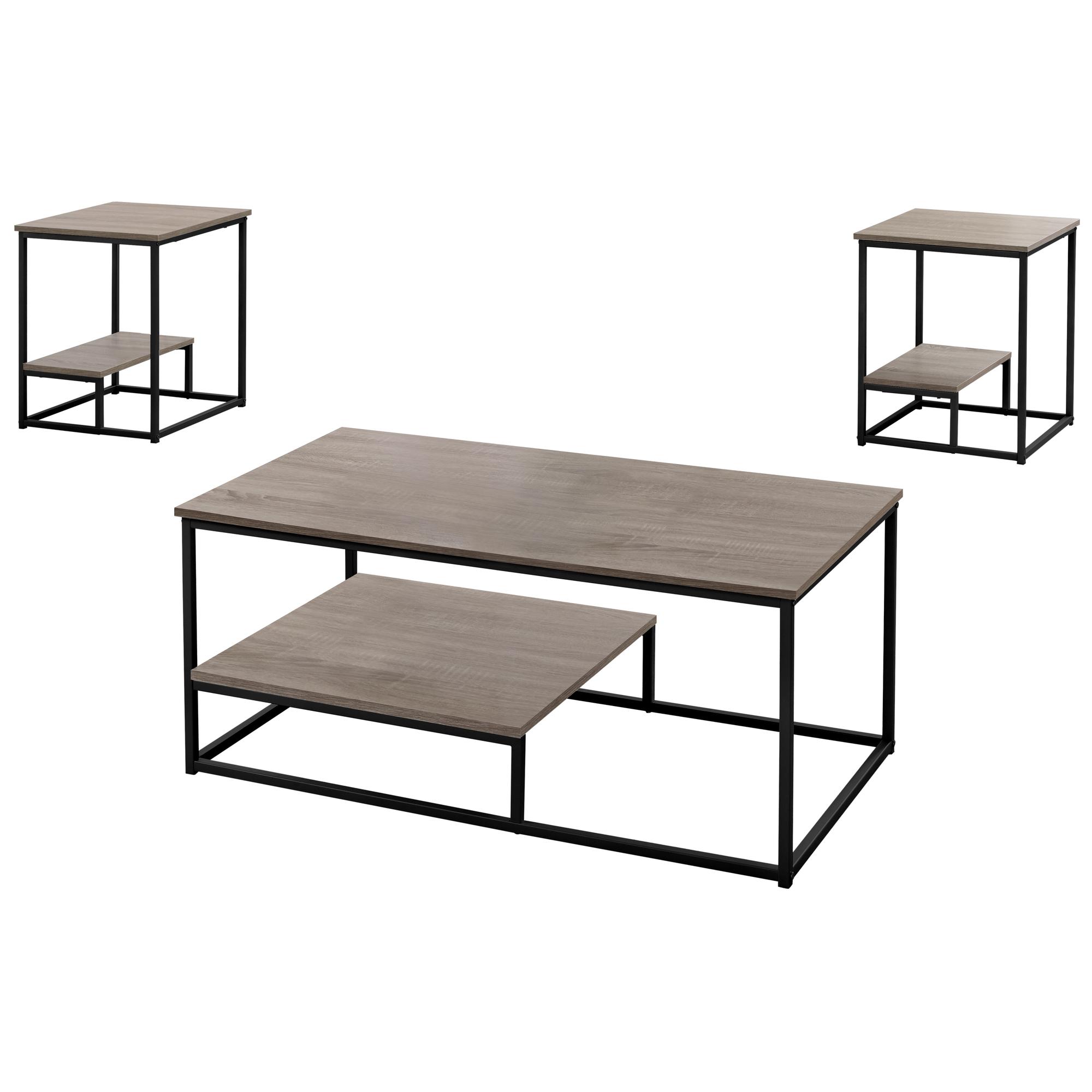 Dark Taupe Black Metal Table Set - 3Pcs Set