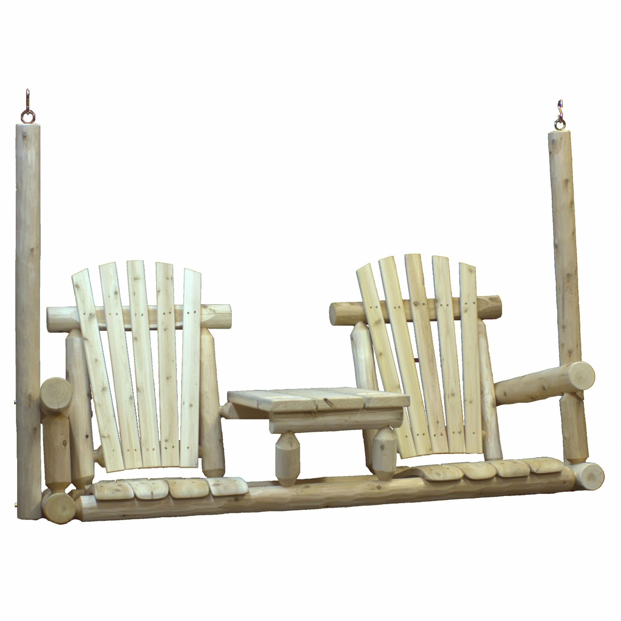"71"" X 24"" X 49""  Natural Wood Tete-A-Tete Porch Swing"