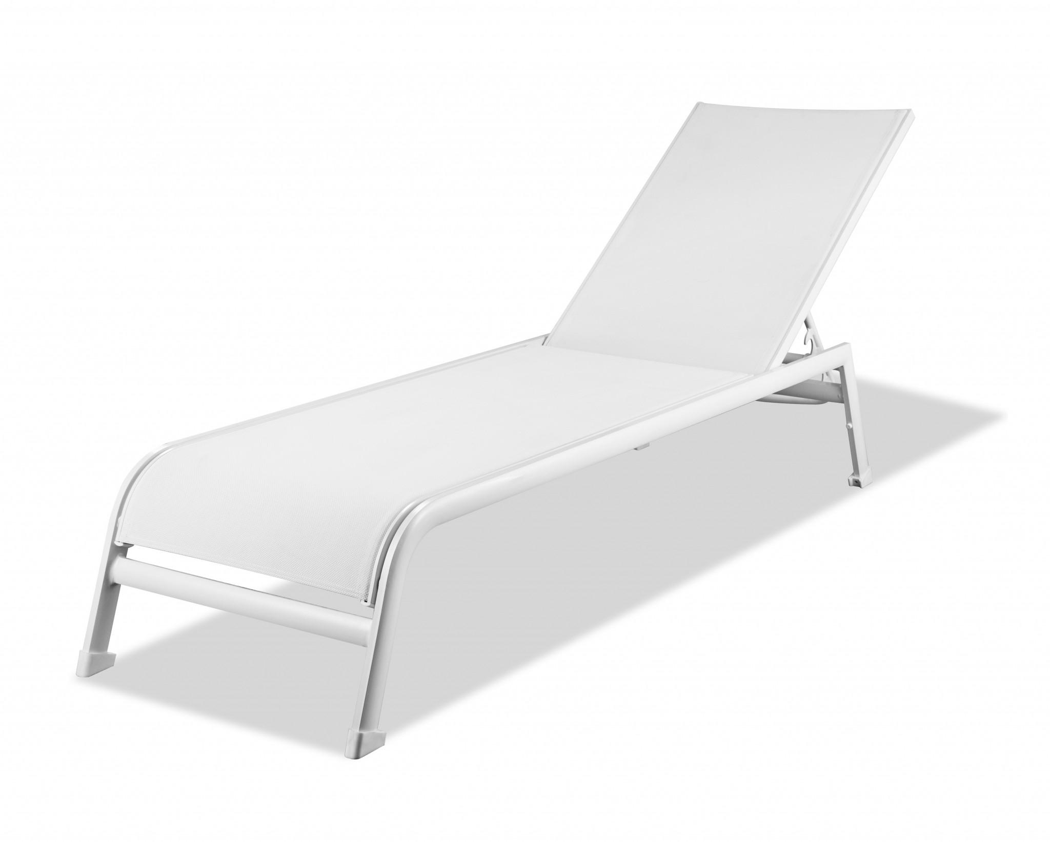 """23"""" X 81"""" X 13"""" White Aluminum Chaise"""
