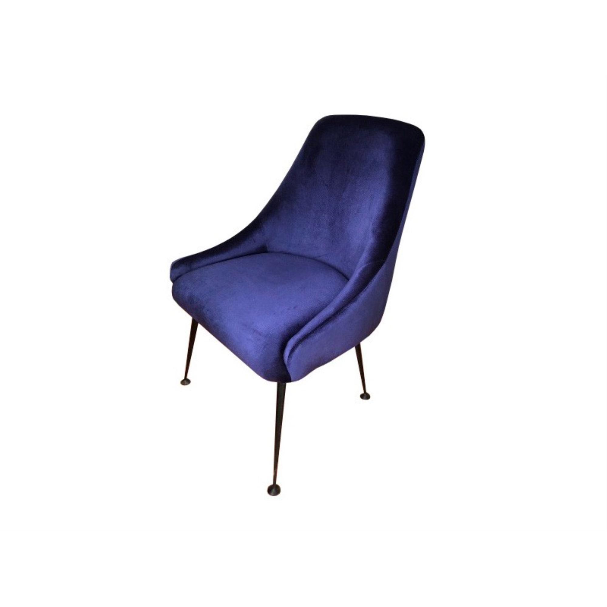 "23"" X 25"" X 35"" Cobalt Blue And Matte Black Metal Chair"