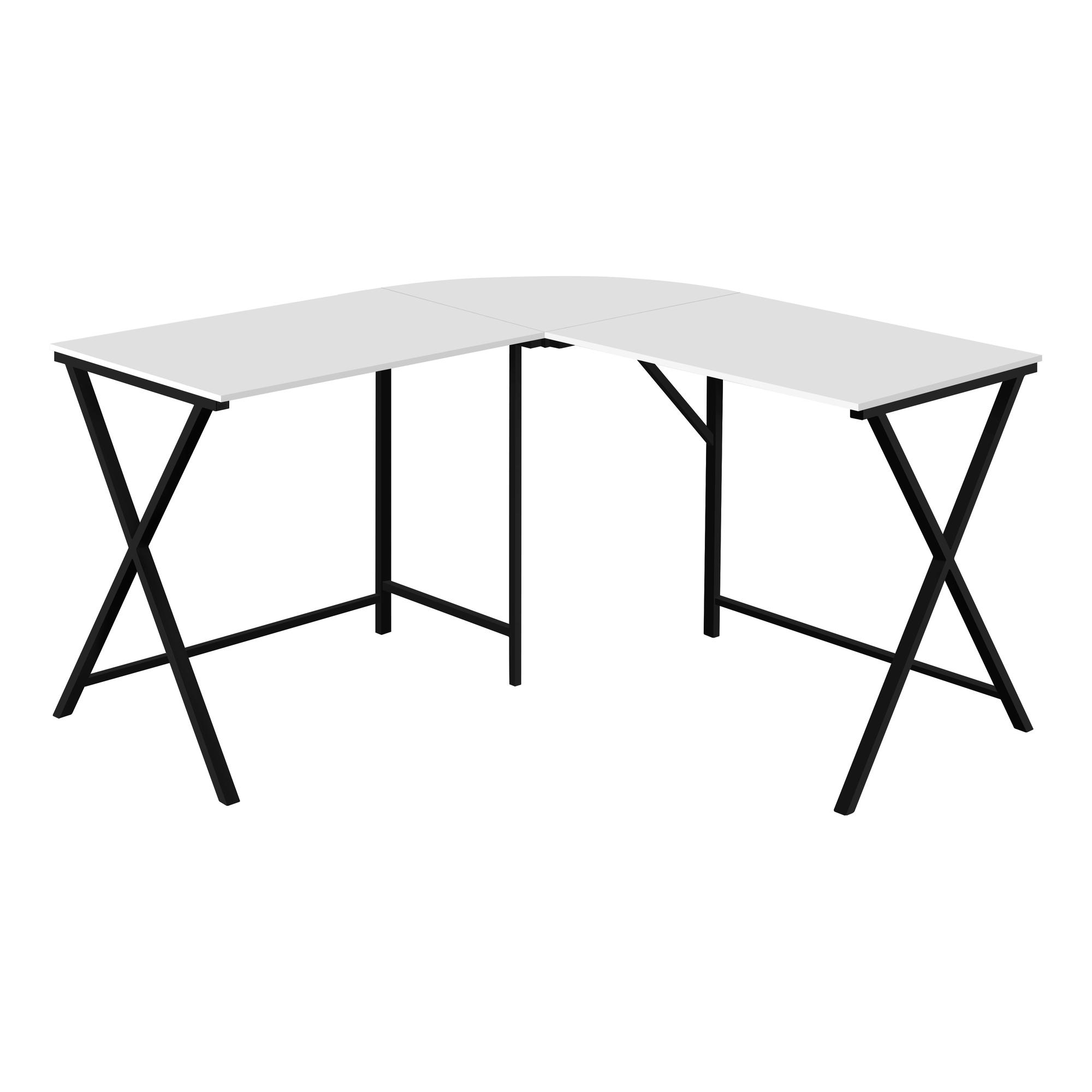 "55"" White Top and Black Metal Corner Computer Desk"