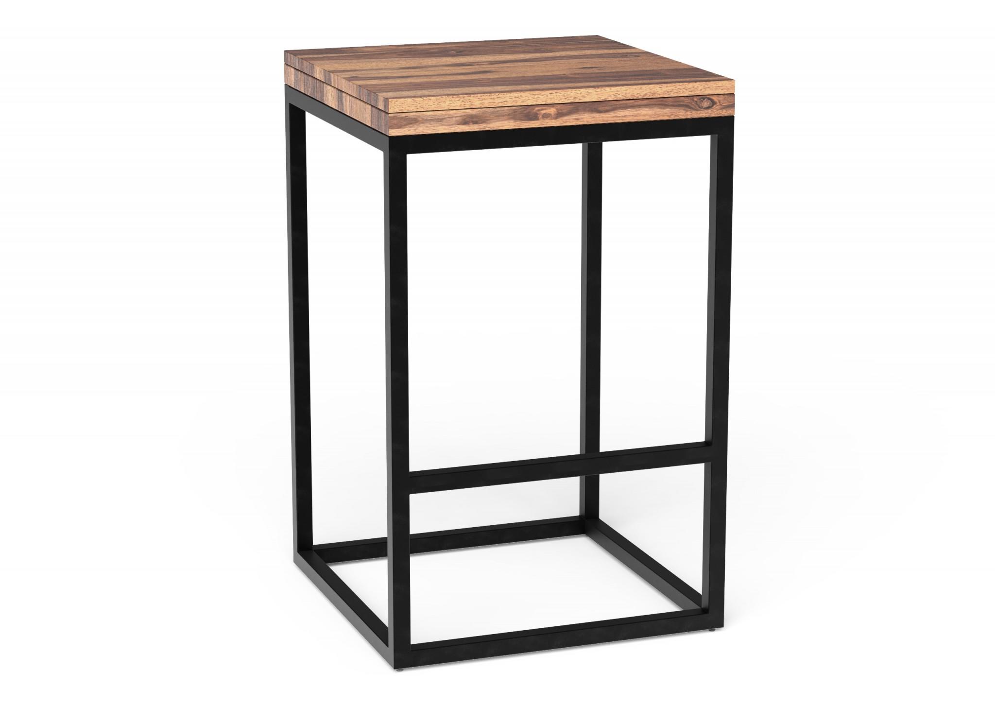 Sheesham Wooden Seat with Black Bar Stool