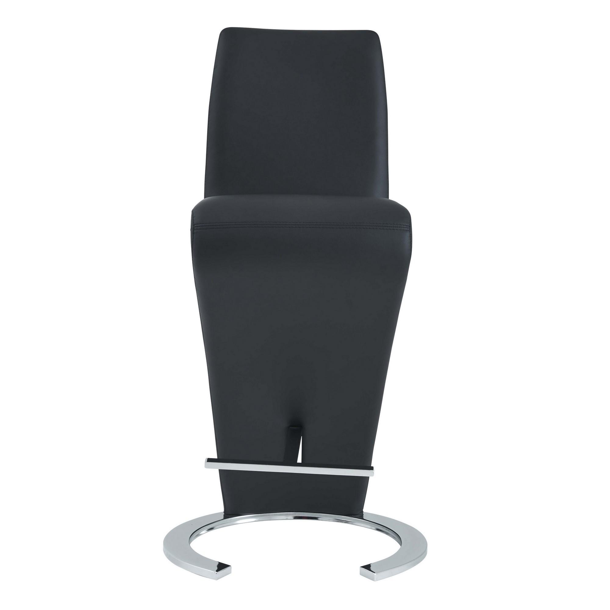 Set of 2 Black Z Shape design Barstools with Horse Shoe Shape Base