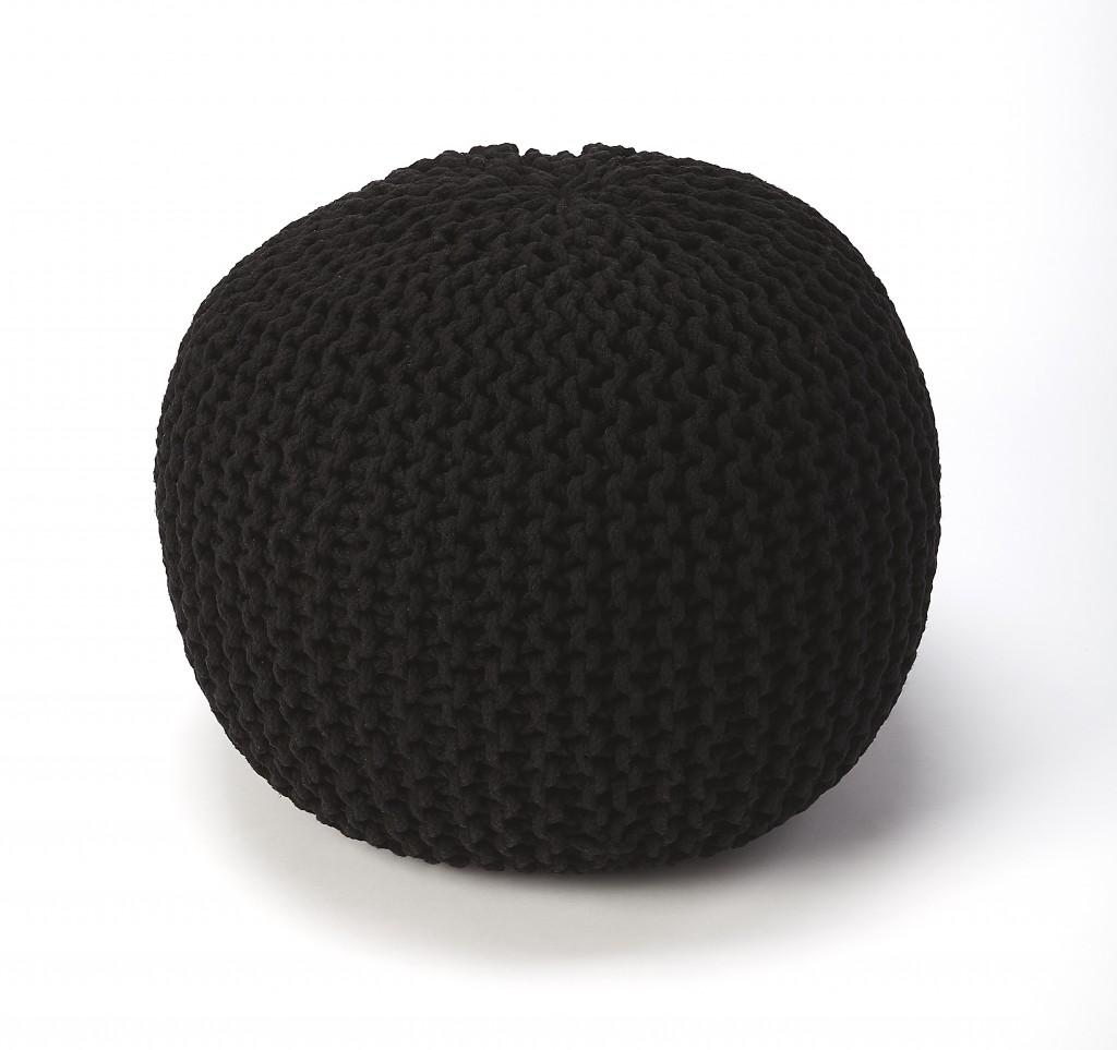 Cool Black Woven Pouf Ottoman