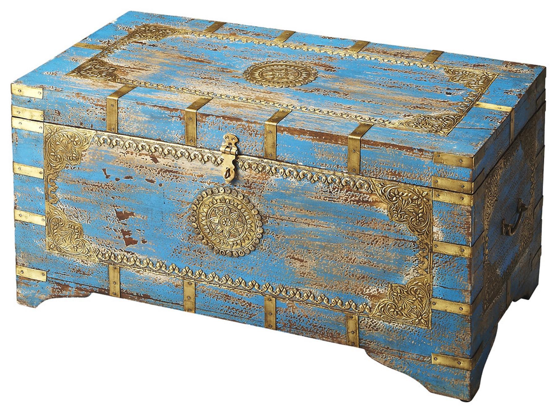 Neela Painted Brass Inlay Storage Trunk