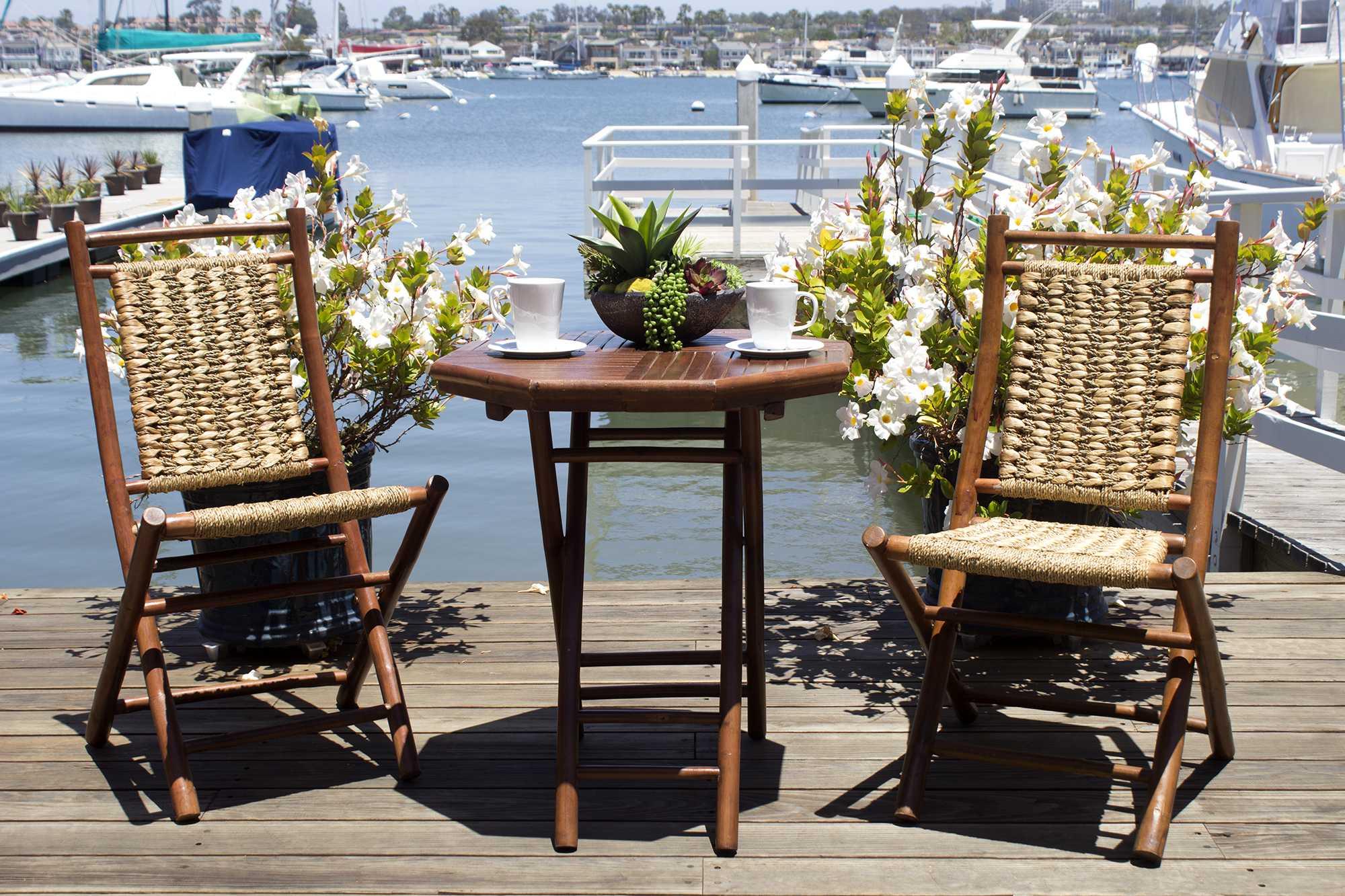"""20"""" X 15"""" X 36"""" Brown Bamboo  Natural Water Hyacinth Bamboo Water Hyacinth and Bamboo set of  Chairs and a Table"""