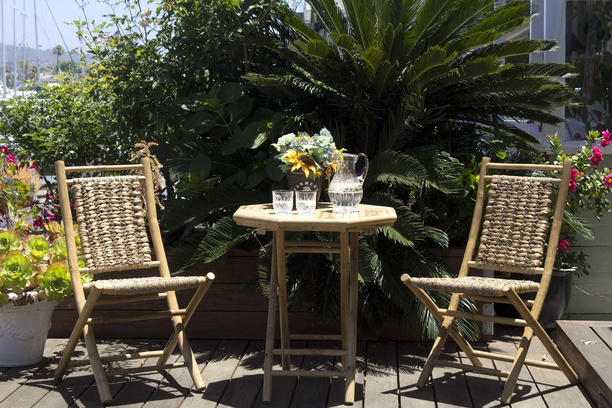 """20"""" X 15"""" X 36"""" Natural Bamboo  Natural Water Hyacinth Bamboo Water Hyacinth and Bamboo set of  Chairs and a Table"""