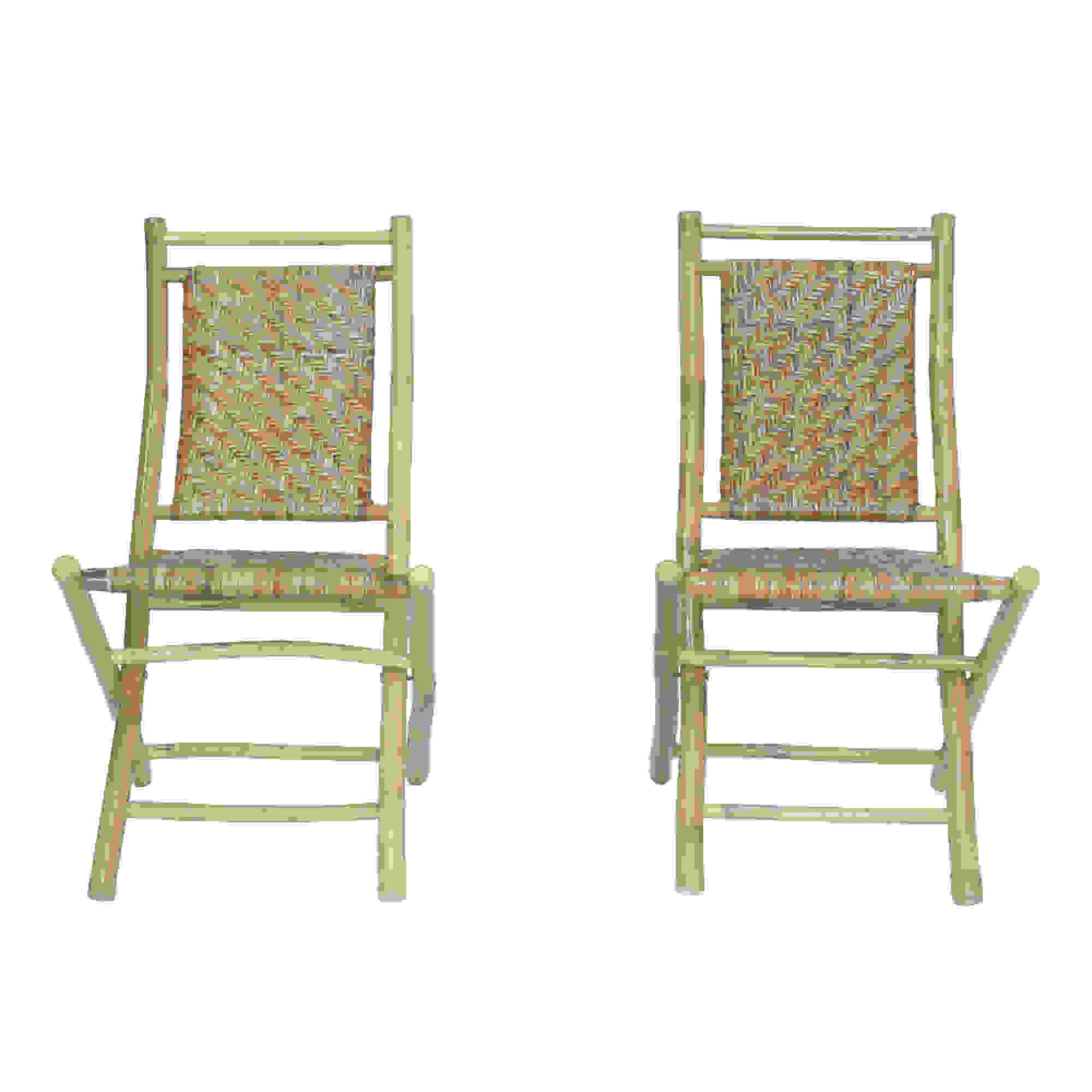 "20"" X 15"" X 36"" Brown Bamboo Folding Chair with a Rattan Skin Chevron Weave"