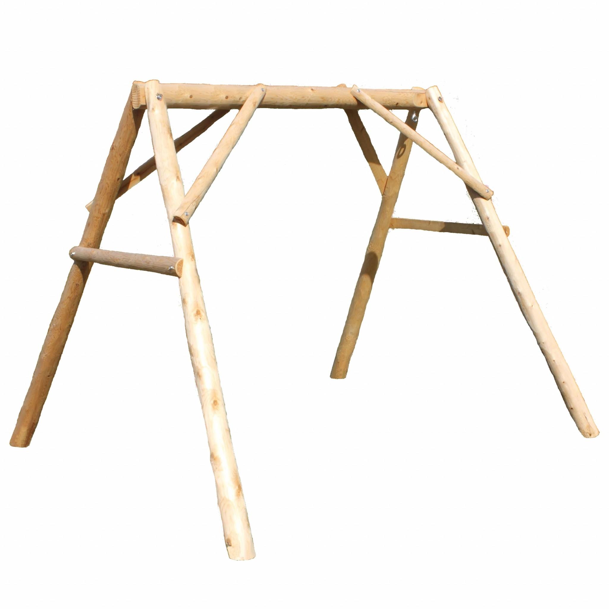 """87"""" X 70"""" X 65""""  Natural Wood A-Frame"""