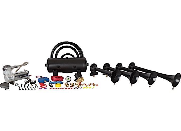 CONDUCTOR'S SPECIAL 240 TRAIN HORN KIT, BLACK 4-CHIME, 2 GALLON, 150 PSI TANK/COMPRESSOR