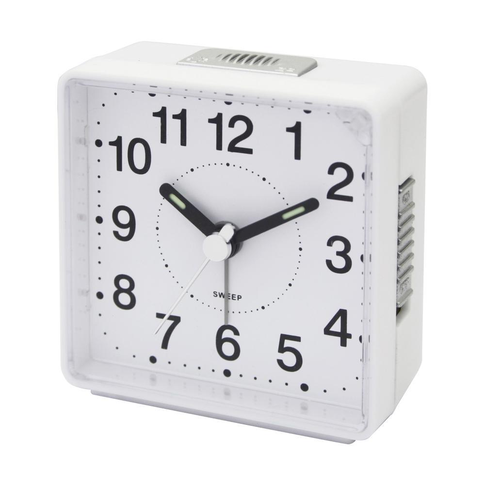 IMPECCA TRAVEL ALARM CLOCK, SWEEP -WHITE