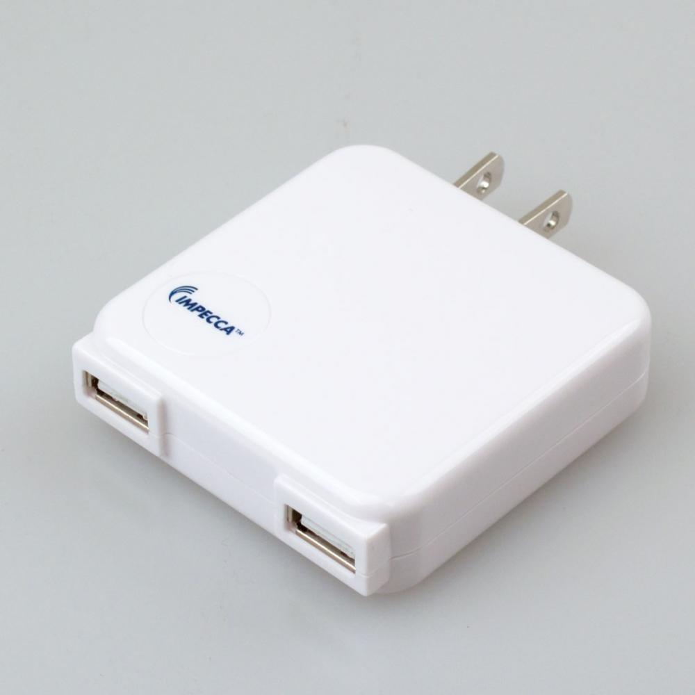 IMPECCA 10W 2-PORT USB AC ADAPTER WHITE
