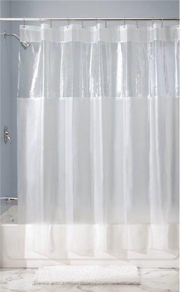 InterDesign 26680 Shower Curtain, 72 in W X 72 in L X 1/4 in T, Vinyl, Clear