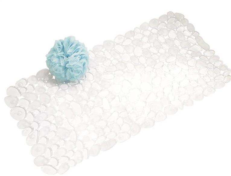 InterDesign 80010 Pebble Rectangular Bath Mat, 26-1/2 in L X 13-3/4 in W, PVC Foam, Clear