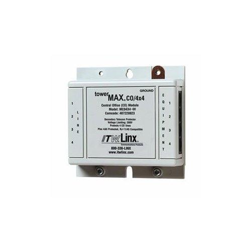 Protects four lines RJ-11 45 connectors
