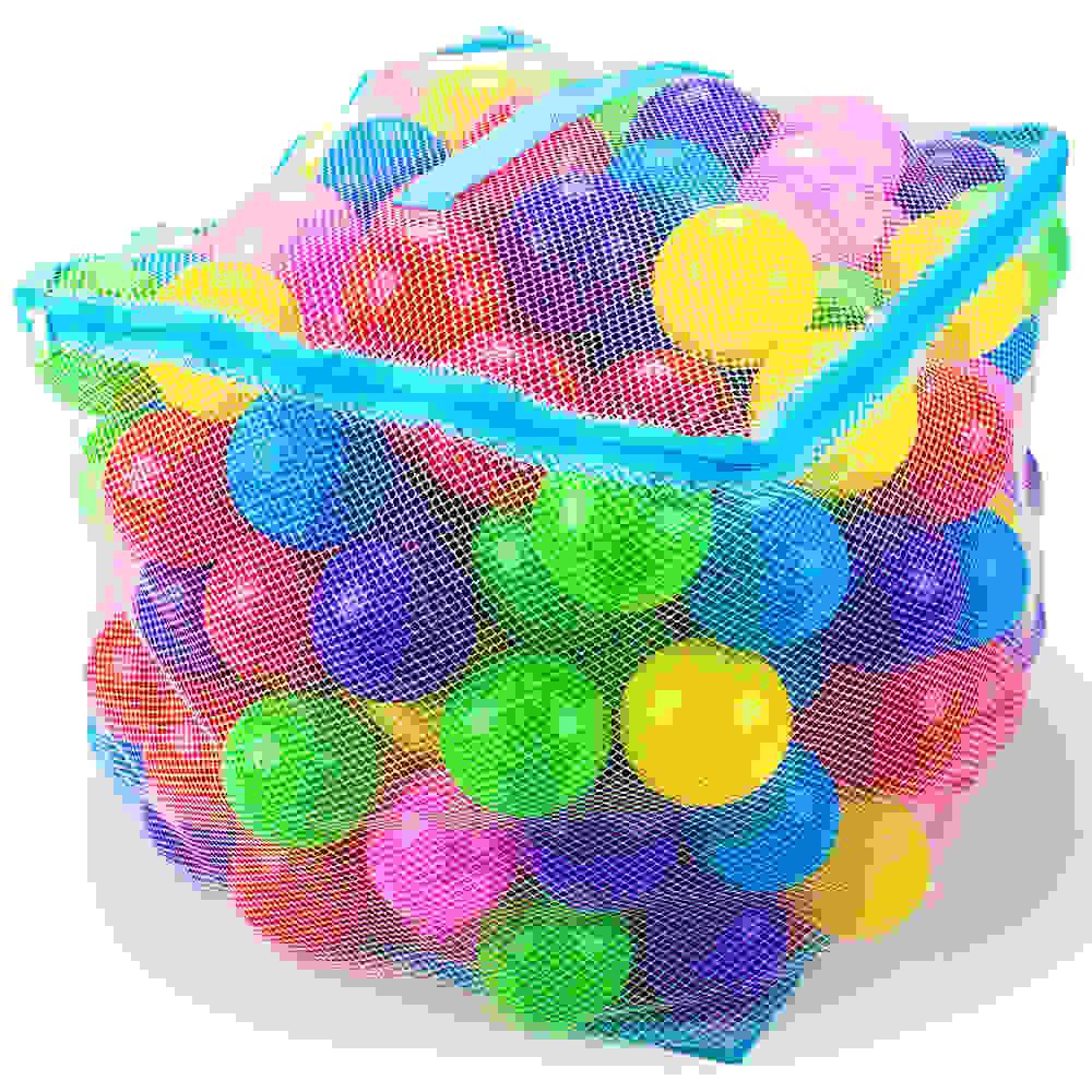 "200 Jumbo 3"" Multi-Colored Soft Ball Pit Balls w/Mesh Case"