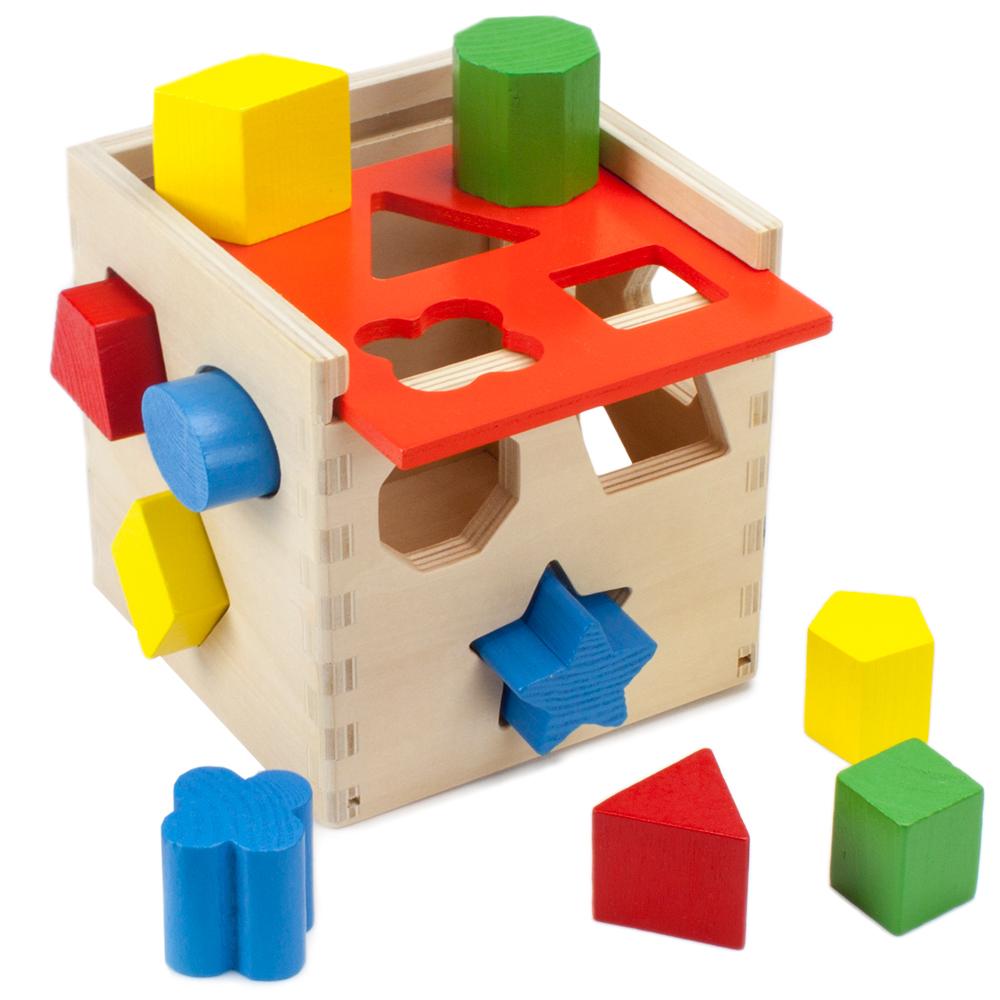 Wooden Wonders Hardwood Shape Sorting Cube
