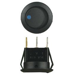 ROCKER SWITCH ROUND BLUE LED 5/PK