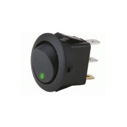 ROCKER SWITCH ROUND GREEN LED 5/PK