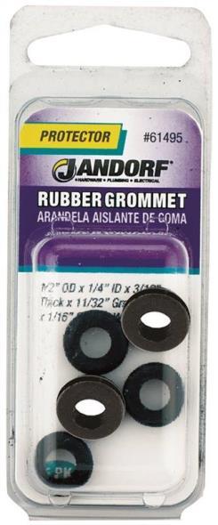 Jandorf 61495 Grommet, 1/4 in ID x 1/2 in OD x 5/16 in T, Rubber, Black
