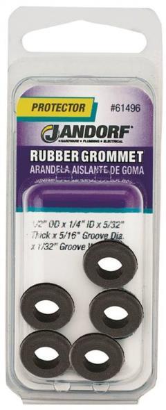 Jandorf 61496 Grommet, 1/4 in ID x 1/2 in OD x 5/32 in T, Rubber, Black