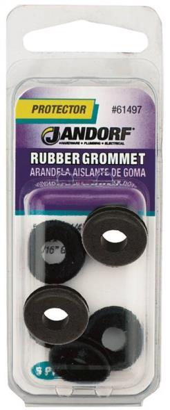 Jandorf 61497 Grommet, 1/4 in ID x 5/8 in OD x 3/16 in T, Rubber, Black