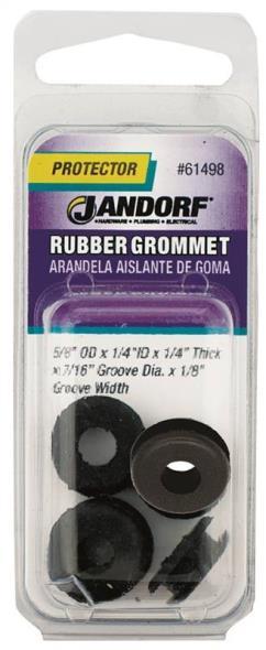 Jandorf 61498 Grommet, 1/4 in ID x 5/8 in OD x 1/4 in T, Rubber, Black