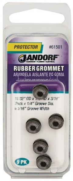 Jandorf 61501 Grommet, 1/8 in ID x 11/32 in OD x 3/16 in T, Rubber, Black