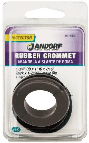 Jandorf 61543 Grommet, 1 in ID x 1-3/4 in OD x 7/16 in T, Rubber, Black