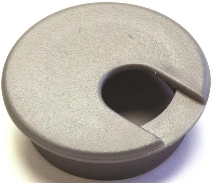 Jandorf 61617 Desk Grommet, Plastic, Metallic Silver/Gray