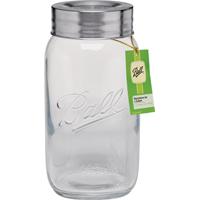 Ball 96268 Commemorative Super Wide Mouth Decorative Mason Jar With Lid, 128 oz, Glass