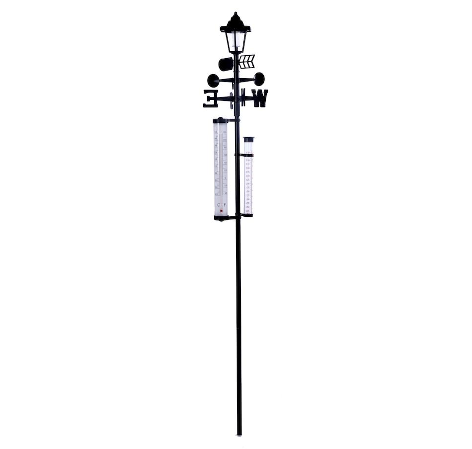 60 Inch All-In-One Solar Weather Station Solar Power Light Snow Rain Wind Speeds