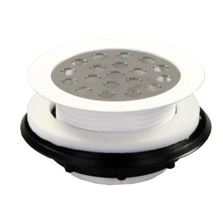 PLASTIC SHOWER STRAINER W/SHOWER GRID, WHITE