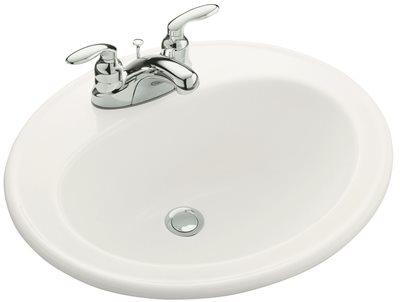 KOHLER PENNINGTON� DROP-IN BATHROOM SINK WITH 4 IN. CENTERSET FAUCET HOLES, WHITE