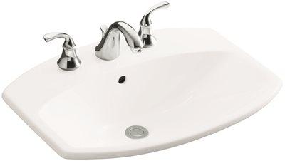 KOHLER CIMARRON� DROP-IN BATHROOM SINK WITH 4 IN. CENTERSET FAUCET HOLES, WHITE