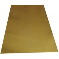 K & S 252 Metal Sheet, 1/64 in T, 10 in L x 4 in W, Brass