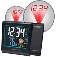 LA Crosse 616-146A Atomic Projection Table Alarm Clock, Digital Display, Black