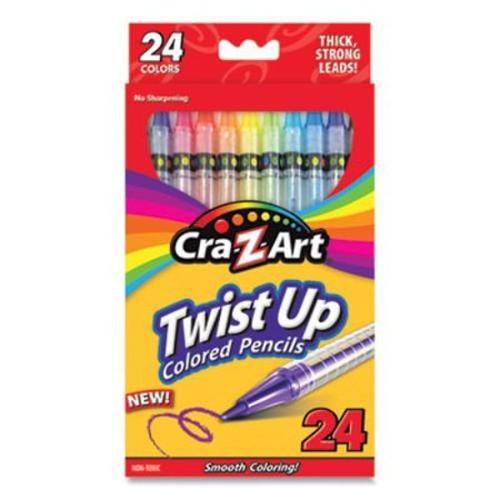 Twist Up Colored Pencils, 24 Assorted Lead Colors, Clear Barrel, 24/Set