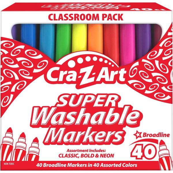 Super Washable Markers, Broad Bullet Tip, Assorted Colors, 40/Set