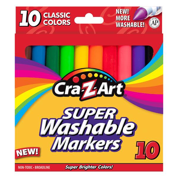 Super Washable Markers, Broad Bullet Tip, Assorted Colors, 10/Set