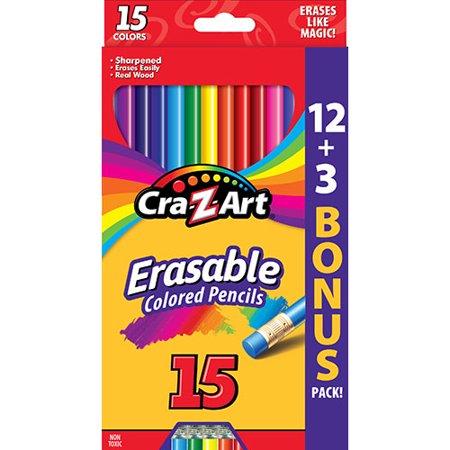 Erasable Colored Pencils, 15 Assorted Lead/Barrel Colors, 15/Set