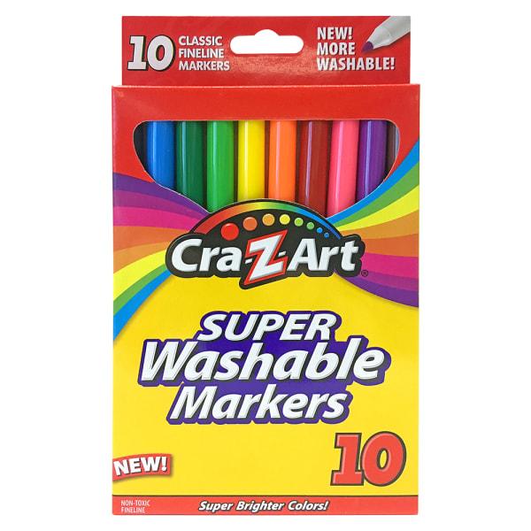 Super Washable Markers, Fine Bullet Tip, Assorted Colors, 10/Set
