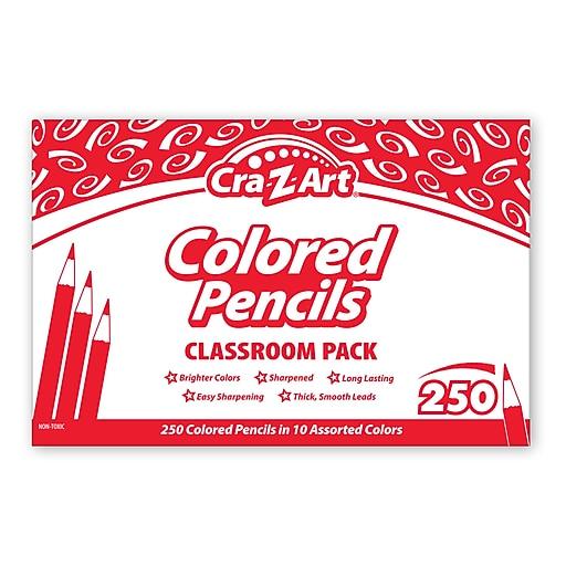 Colored Pencils, 10 Assorted Lead/Barrel Colors, 250/Set