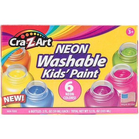 Neon Washable Kids' Paint, 6 Assorted Neon Colors, 2 oz Bottle, 6/Pack